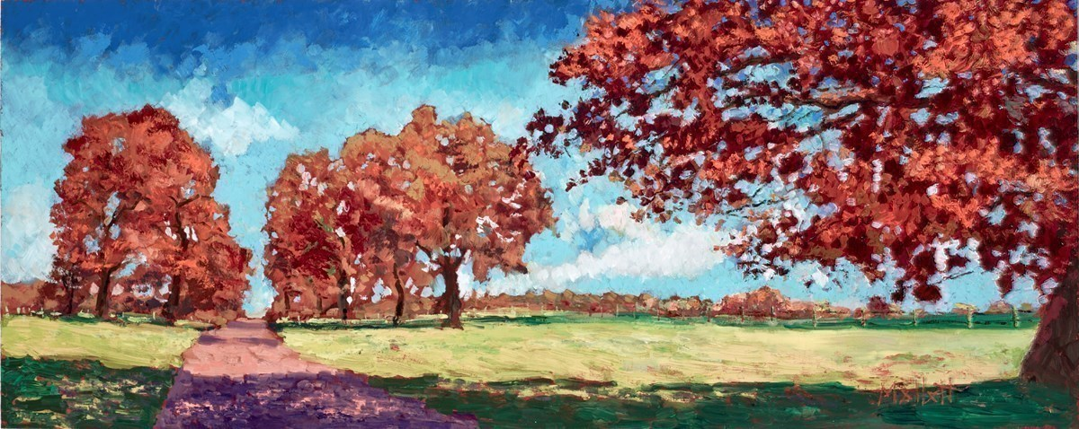 Autumn Parkland by Timmy Mallett -  sized 30x12 inches. Available from Whitewall Galleries